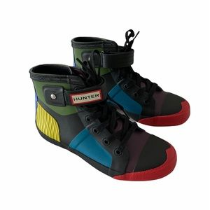 🆕 Hunter Lace Up High-Top Rain Sneakers RARE